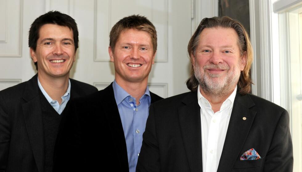 <strong>FAMILIE:</strong> Reitan-familien, fra venstre Ole-Robert, Magnus og far Odd Reitan, har i en årrekke vært høyt oppe på formuetoppen i Norge. Foto: Ned Alley / Scanpix