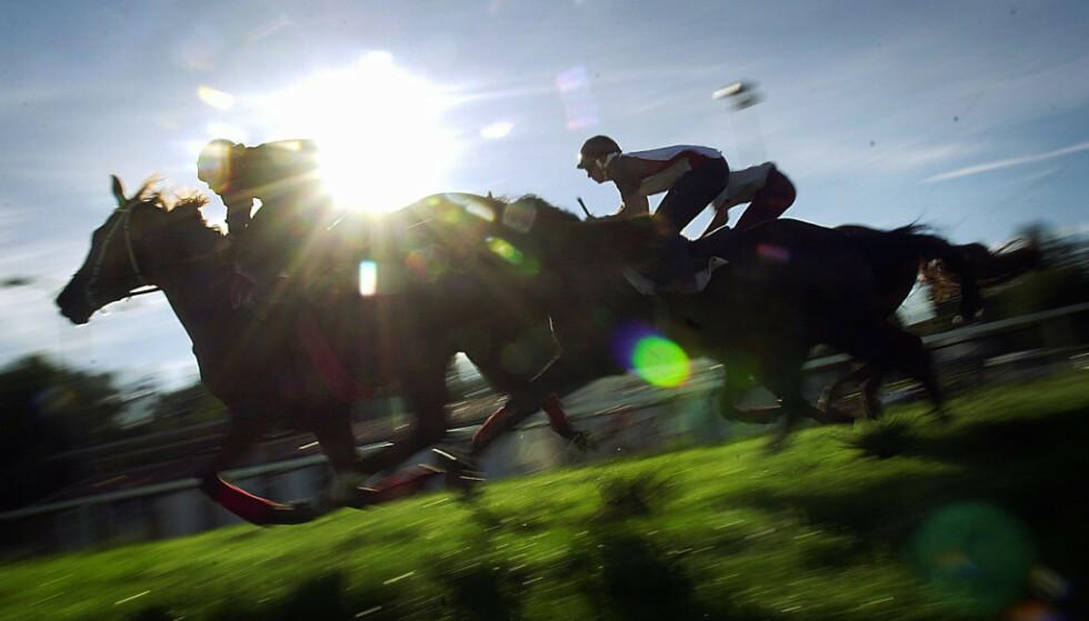 <strong>INN I SOLNEDGANGEN:</strong> Det er dramatiske tider for norsk hestesport. Her rir jockeyer inn i solnedgangen på Øvrevoll. Banen avlyser siste løpsdag for sesongen. Foto: NTB Scanpix