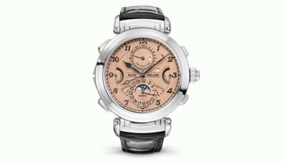 DYREST I VERDEN: Det unike urverket fra Patek Philippe ble tidenes dyreste klokke solgt på auksjon lørdag. Armbåndsuret ble auksjonert bort på den sveitsiske auksjonen Only Watch, og slo rekorder fra 2014 og 2017. Foto: Patek Philippe