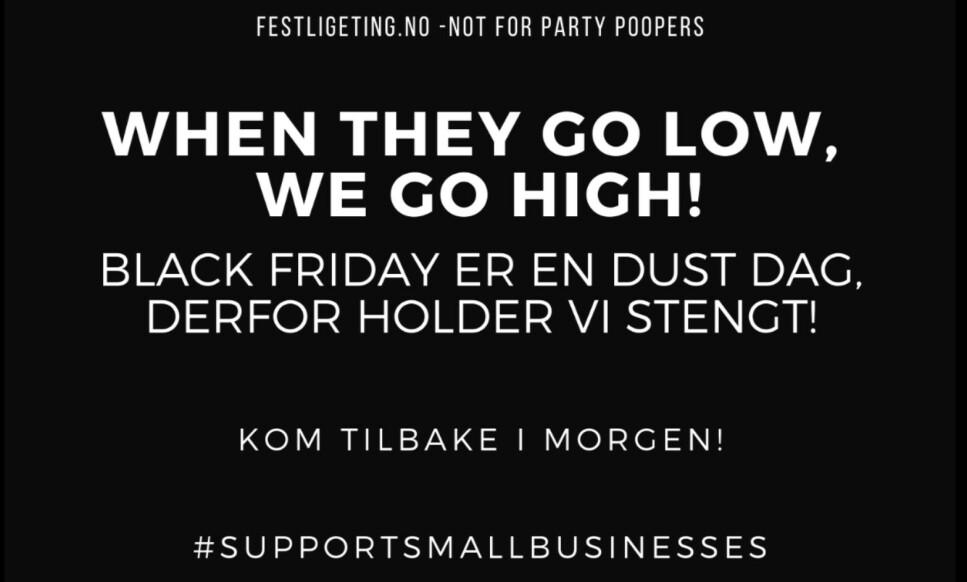 STENGT: Godt over hver tredje nordmann benytter Black Friday til å gjøre et kjøp. Men ikke alle går ut av kjøpefesten som vinnere. Nettbutikken festligeting.no har valgt å stenge for markere avstand til kjøpsfesten. Skjermdump: Festligeting.no