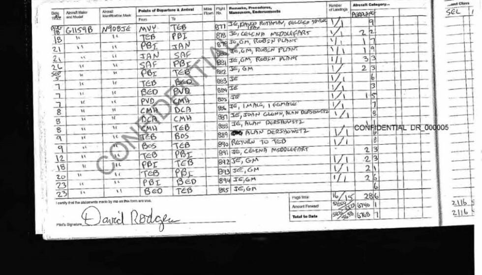 PASSASJER: To ganger i løpet av høsten 1995 fløy Celina Midelfart med Jeffrey Epstein i hans privatfly. Det viser dokumenter som nylig ble offentliggjort. Foto: US Court of Appeals