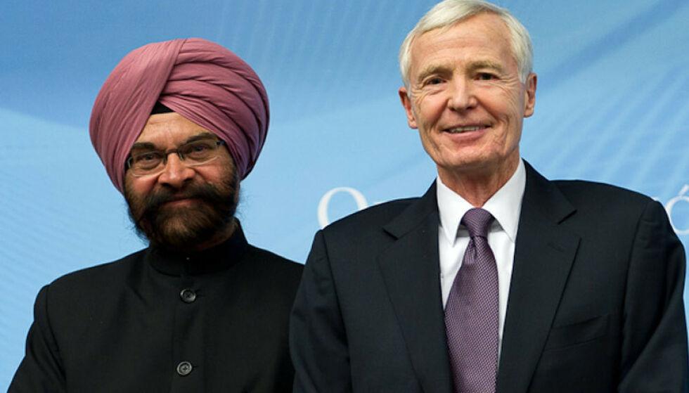 KRISE-PENSJON: Indiske Ujal Singh Bhatia og amerikanske Thomas R. Graham utgjorde to tredeler av det som på folkemunne er kjent som «verdenshandelens høyesterett». Tirsdag gikk de av med pensjon, noe som har utløst krise i WTO. Foto: WTO