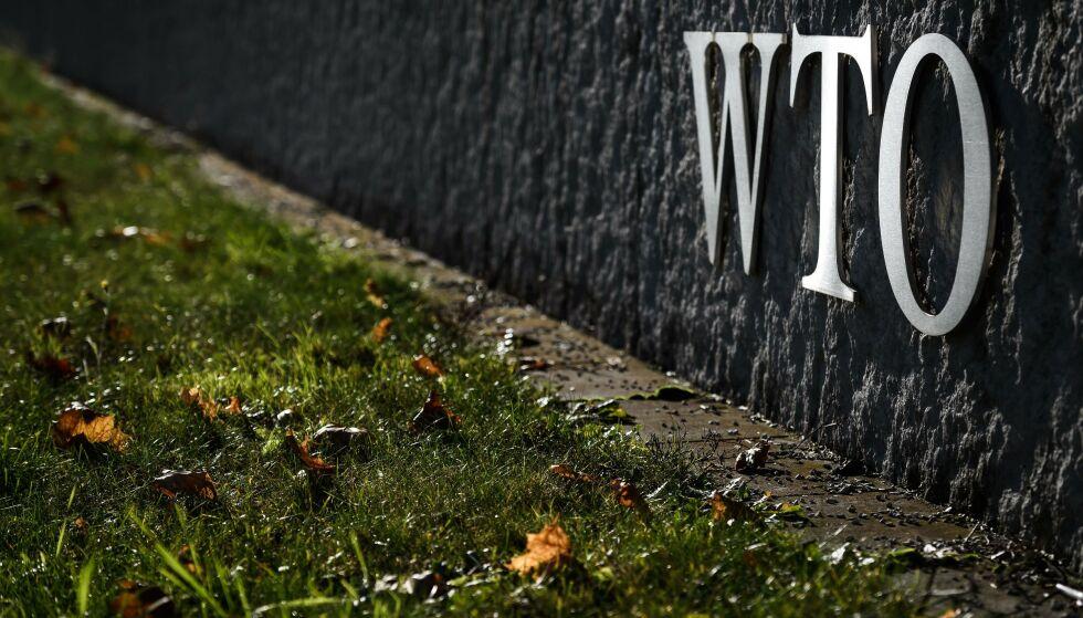 I STÅ: Verdens handelsorganisasjon slutter å fungere i dag. To av tre dommere går av med pensjon, og Donald Trumps administrasjon blokkerer for utnevnelsen av nye dommere. Foto: Fabrice Coffrini / AFP / NTB Scanpix