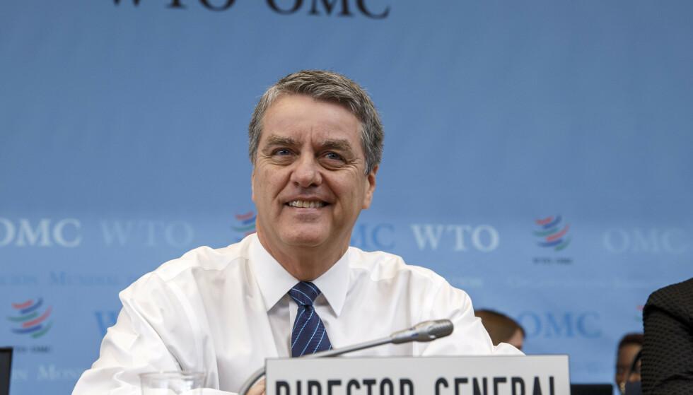 SATT UT AV SPILL: WTO-sjef Roberto Azevedo konstaterer at WTOs ordning for å løse tvistesaker, er satt ut av spill. Men han håper på en løsning før ministermøtet i juni neste år. Foto: Salvatore Di Nolfi / Keystone / AP / NTB scanpix
