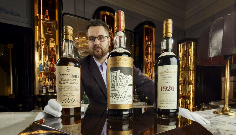 GÅR UNDER HAMMEREN: De edle dråpene, bestående av 3900 flasker, har en estimert totalverdi på 100 millioner norske kroner. Foto: Whisky Auctioneer