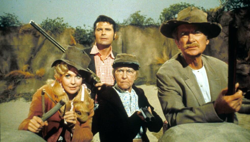 <strong>ORIGINALEN:</strong> The Beverly Hillbillies var en stor suksess på amerikansk fjernsyn på 1960-tallet. Fra venstre: Donna Douglas, Max Baer, Irene Ryan, Buddy Ebsen. Foto: Moviestore/REX