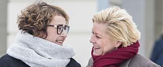 <strong>TETPLASSER:</strong> Landbruks- og matminister Olaug V. Bollestad (KrF) og finansminister Siv Jensen (Frp) er høyt oppe i matmakt-kåring. Foto: Heiko Junge / NTB scanpix