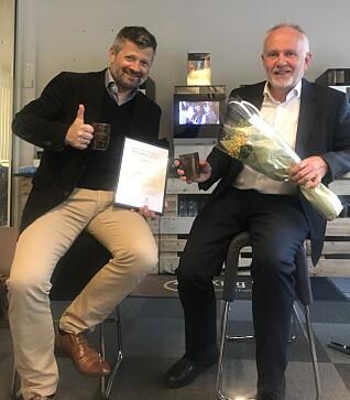 MILJØPRIS: Erik Lårbak og Asgeir Vikanes mottok Bærum kommunes miljøpris tidligere i år.