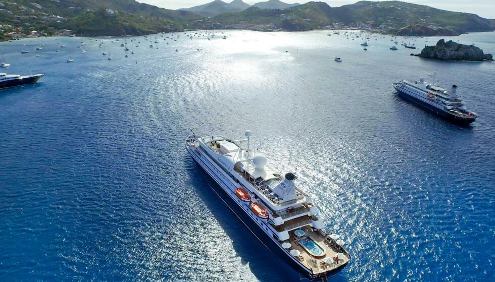 DRØMMECRUISE AVLYST: En av Saudi-Arabias rikeste, sjeik Saleh Abdullah Kamel, avlyste et cruise med den Atle Brynestad-eide yachten «Seadream II», som på bildet ses sammen med tvillingskipet «Seadream I». Nå har en krangel om regninga havnet i retten. Foto: SeaDream Yacht Club