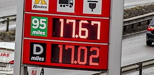 REKORD: Aldri har bensin og diesel hatt høyere veiledende pris enn mandag. Foto: NTB scanpix