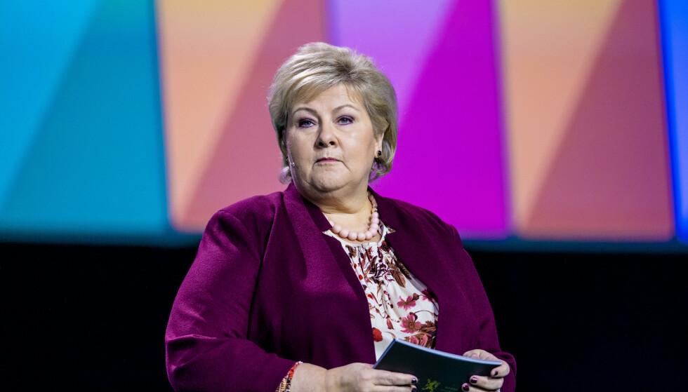 NHO: Statsminister Erna Solberg taler på NHOs årskonferanse i Oslo Spektrum. Foto: Stian Lysberg Solum / NTB scanpix