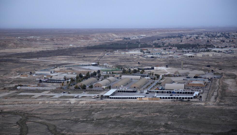 BASE: Ain al-Asad-basen i Irak var en av de to basene som ble angrepet av Iranske missiler i natt. Foto: AP / NTB Scanpix