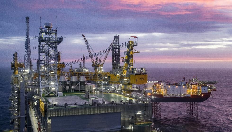 VEKST: Olje og gass trekker opp forhåpningene. Bildet er tatt i forbindelse med åpningen av Johan Sverdrup-feltet. Foto: Carina Johansen / NTB scanpix