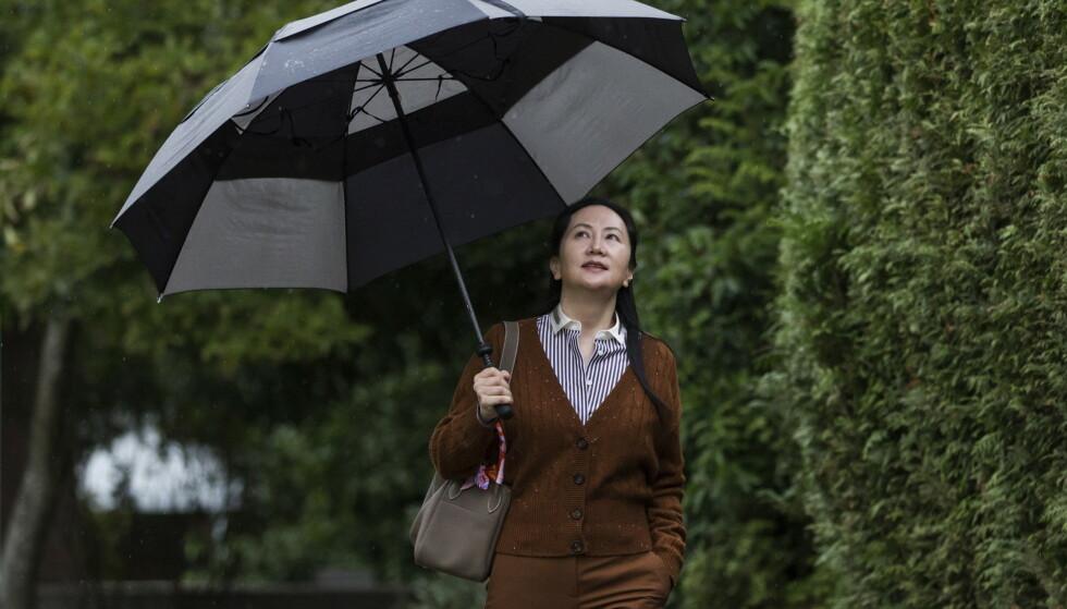 Huawei-toppen Meng Wanzhou er løslatt på kausjon i påvente av rettssaken som starter i Vancouver mandag. Arkivfoto: Darryl Dyck/The Canadian Press via AP / NTB scanpix