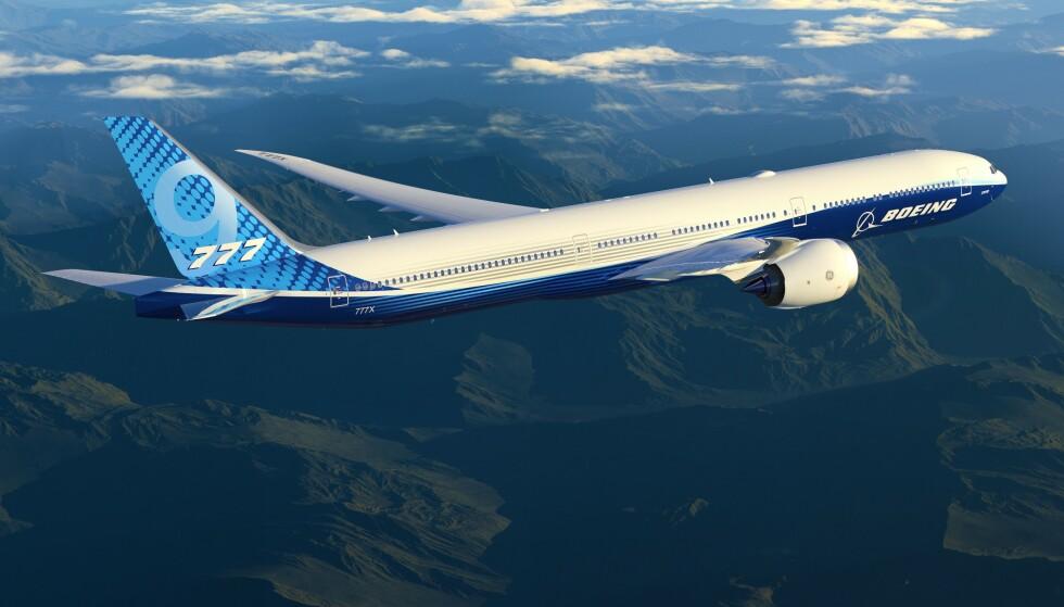 <strong>UTSATT:</strong> Testflygingen av Boeing 777x er nok en gang utsatt, denne gangen på grunn av dårlig vær. Foto: Boeing / AFP / NTB Scanpix