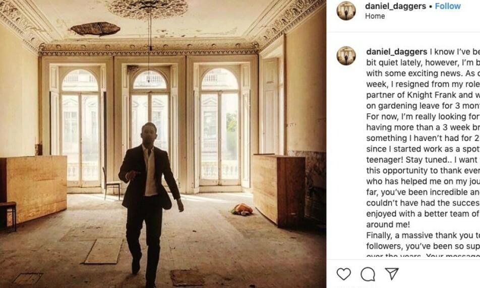 OVERRASKET: Eiendomsmegler Danny Daggers valgte å kunngjøre sin avgang i meglerhuset Knight Frank på tampen av fjoråret. Nå skal bakgrunnen for valget være kjent. Foto: Instagram / Daniel Daggers