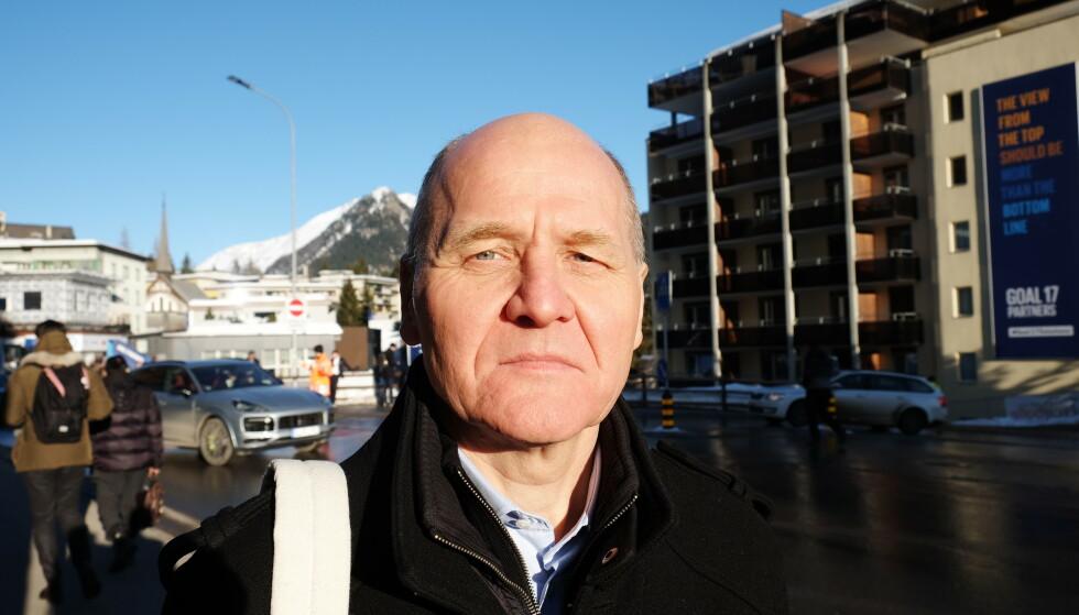DAVOS-VETERAN: Telenor-sjef Sigve Brekke har etterhvert blitt en veteran i World Economic Forum-sammenheng. Han er helt uenig med kritikerne som mener det blir mye prat og lite handling når statsledere, toppledere, investorer og interesseorganisasjoner samles i Davos hver vinter. Foto: Nicolai Eriksen