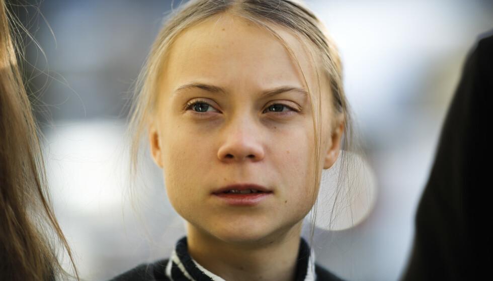 SLÅR TILBAKE: Under en pressekonferanse i Davos fredag formiddag, kom Greta Thunberg med en tydelig beskjed til næringslivstoppene. Foto: NTB Scanpix