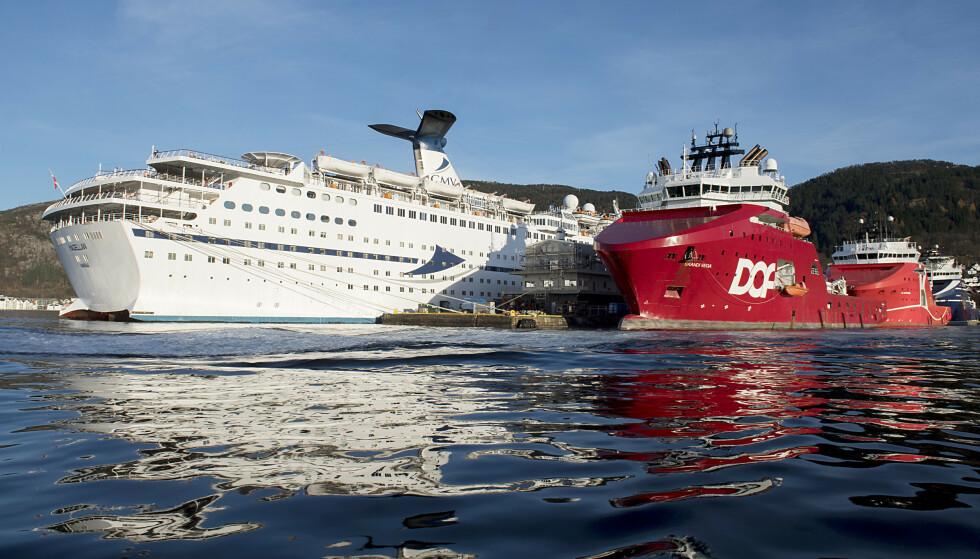 Bergen er havnen i Norge med flest cruiseanløp. Nå går bystyret inn for å redusere antallet cruiseanløp til byen og ber byrådet foreslå hvordan. Foto: Marit Hommedal / NTB scanpix