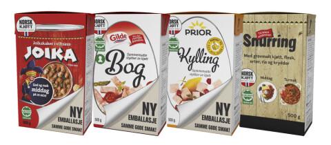 NY DRAKT: Dette er noen av produktene som får ny forpakning. Foto: Nortura