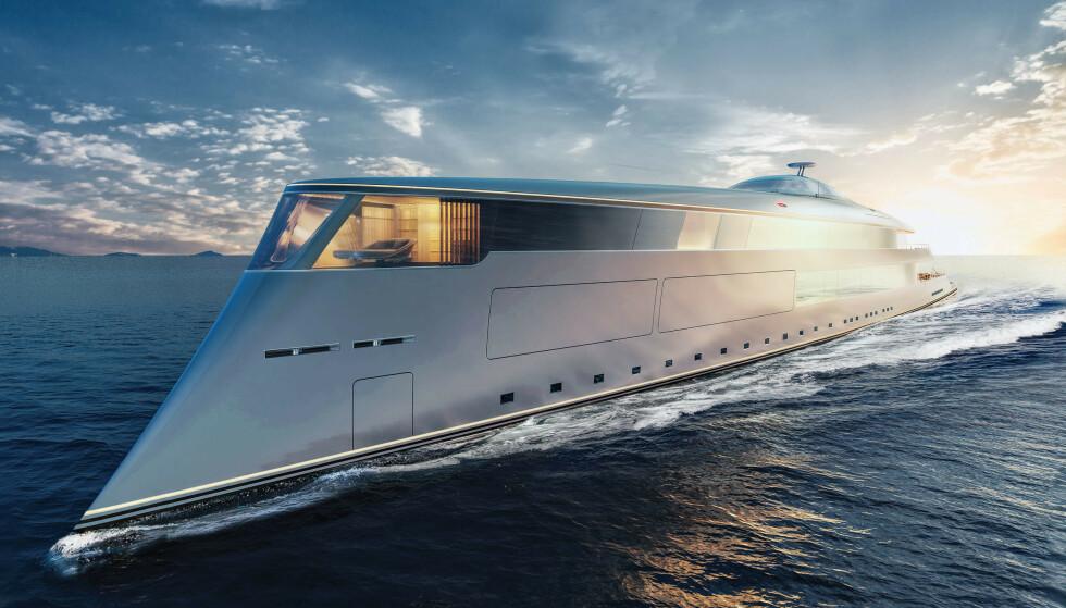 SUPERYACHT: Bill Gates har bestilt en 112 meter lang, hydrogendrevet Aqua-yacht. Designet av Sinot. Foto: Sinot