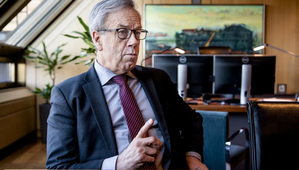ADVARER: Sentralbansjef Øystein Olsen beskriver et økende risikobilde i årstalen til den norske samfunnseliten. Foto: Lars Eivind Bones