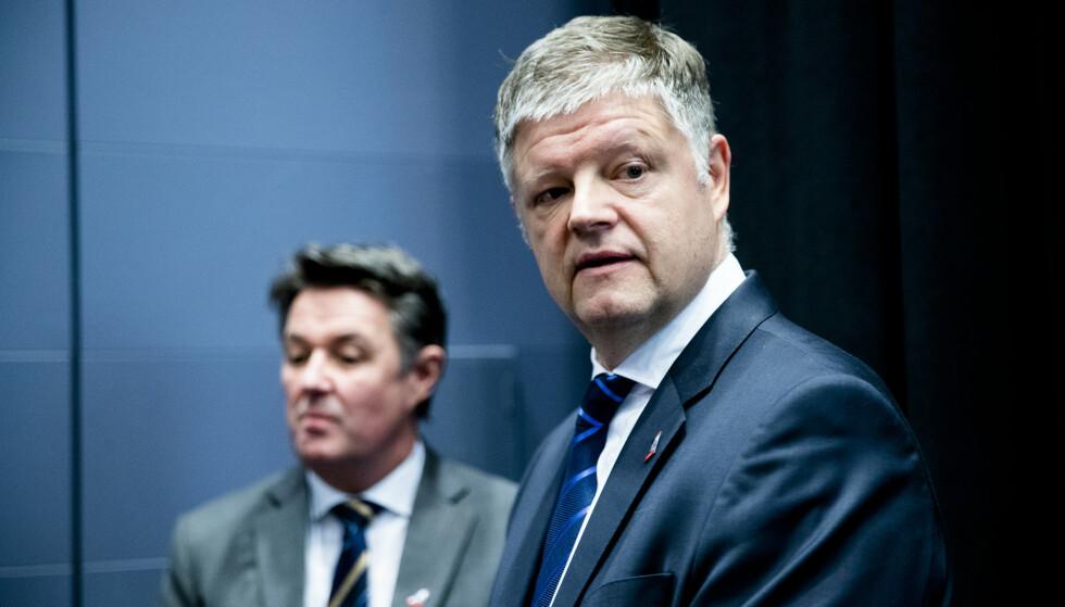 Dagbladet har så langt ikke fått noen kommentar fra flyselskapet Norwegian, her ved finansdirektør Geir Karlsen og konsernsjef Jacob Schram. Foto: Stian Lysberg Solum/NTB Scanpix