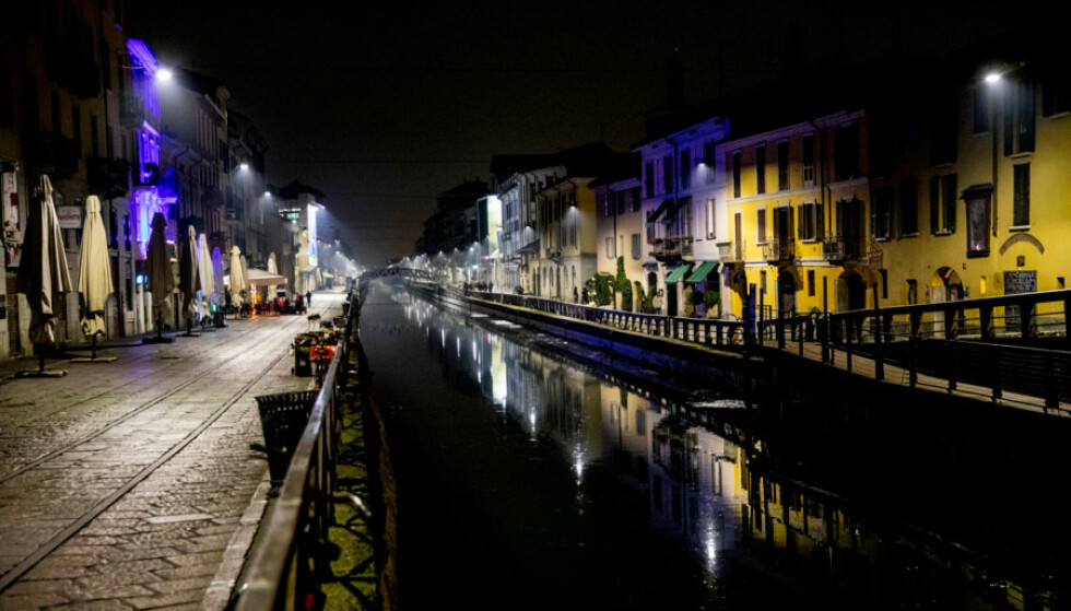 DEMPET: Også i utelivsormådet Navigli ved kanalen i Milano er stemningen dempet. Foto: Christian Roth Christensen / Dagbladet