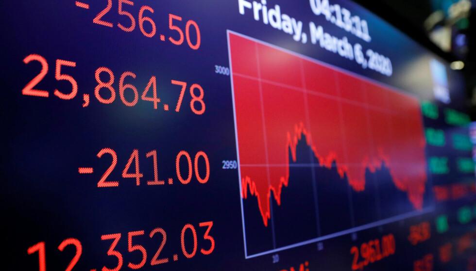 BLODRØDT PÅ BØRSEN: Slik så den sentrale børsindeksen Dow Jones Industrial Average ut da New York-børsen stengte på fredag. Mandag fortsatte de dårlige tidene, med blodrøde tall ikke minst på Oslo Børs. Foto: NTB Scanpix