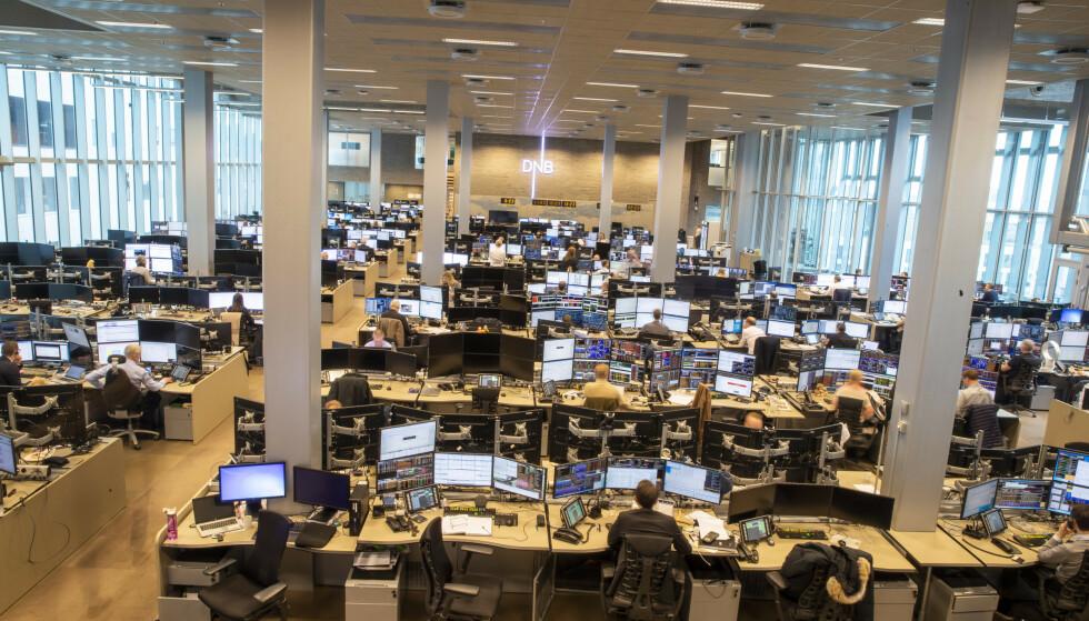 STENGER: Meglergulvet til DNB Markets er coronastengt. Foto: Terje Pedersen / NTB scanpix