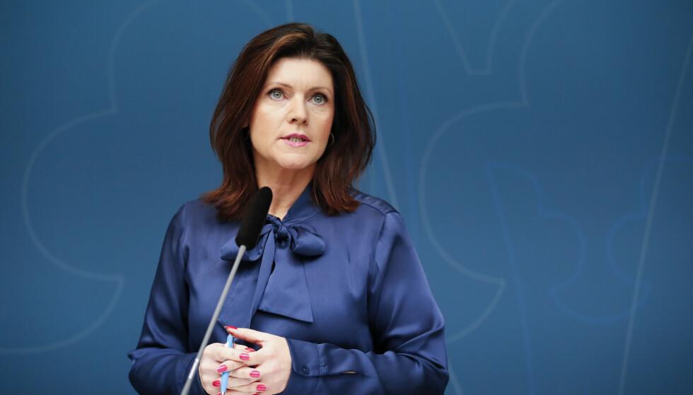 SKUFFET: Arbeidsminister Eva Nordmark (S) er skuffet etter møtet hun hadde med norges arbeidsminister tirsdag. Foto: Christine Olsson/TT NYHETSBYRÅN / NTB