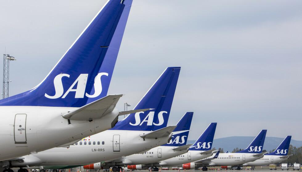 <strong>PÅ BAKKEN:</strong> Mange SAS-fly er parkert i disse dager.    Foto: Ole Berg-Rusten / NTB Scanpix