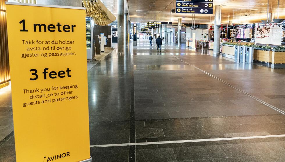 STILLE: Avinor anslår en nedgang i flytrafikken i påskeuken på mellom 90 og 95 prosent. Foto: Hans A. Vedlog / Dagbladet