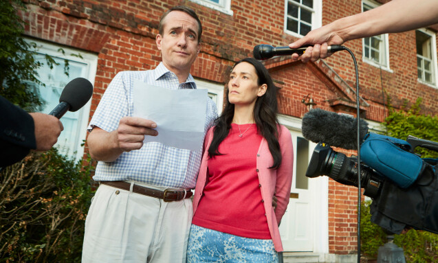 <strong>TV-DRAMA:</strong> Skuespillerne Matthew Macfadyen i rollen som Charles Ingram, samt Sian Clifford i rollen som Diana Ingram. Foto: NTB Scanpix