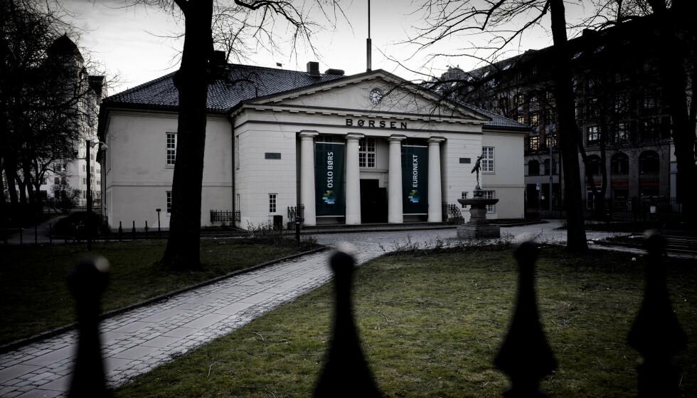 <strong>OPP:</strong> Oslo Børs på ukens siste handeldag. Foto: Lars Eivind Bones