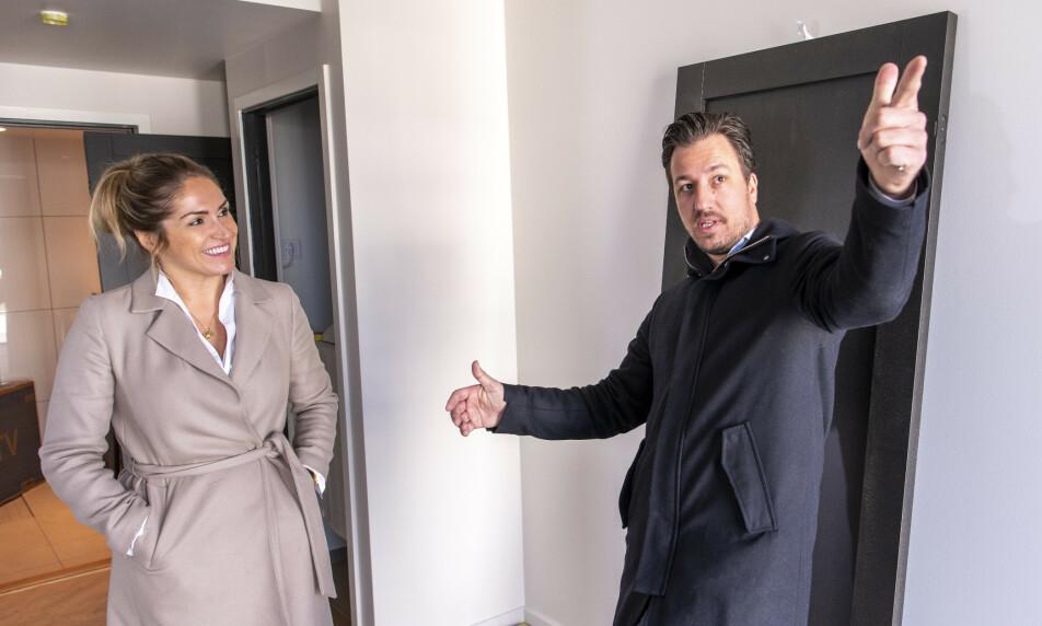 <strong>RADARPAR:</strong> Helene Solberg (34) og Hans Houeland (38) regnes som to av landets mest profilerte eiendomsmeglere. I tillegg er de kjærester, samboere og kolleger. Foto: Lars Eivind Bones / Dagbladet