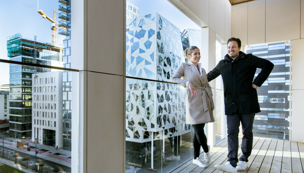 <strong>LUKSUSBOLIG:</strong> Helene Solberg og Hans Houeland blir samboere i en splitter ny leilighet i Oslo sentrum. Foto: Lars Eivind Bones / Dagbladet