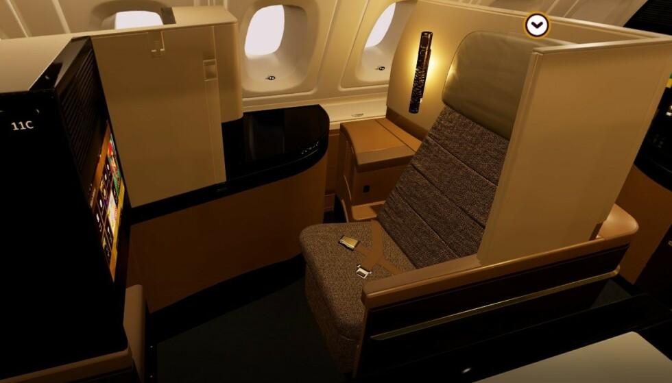 <strong>BUSINESS:</strong> Slik ser det ut på businessklasse hos Etihad Airways. Foto: Etihad Airways.