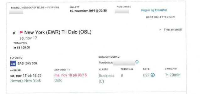 Billetten for Torbjørn Røe Isaksens reise hjem fra New York.