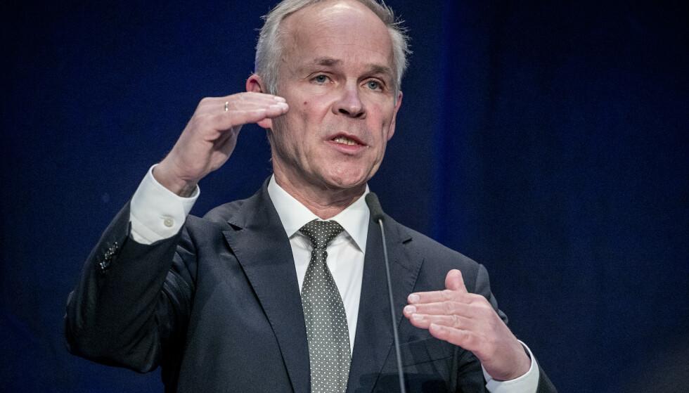 <strong>TAUS:</strong> Finansminister Jan Tore Sanner vil ikke svare på spørsmålet om ansettelsesprosessen da Nicolai Tangen ble oljefondsjef. Foto: Bjørn Langsem / Dagbladet