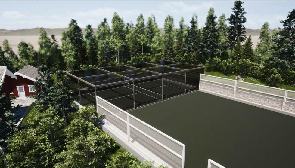 <strong>STORE PLANER:</strong> Kjell Inge Røkke ønsker å få bygget denne padelbanen på sin eiendom. Foto: Fristed Arkitekter
