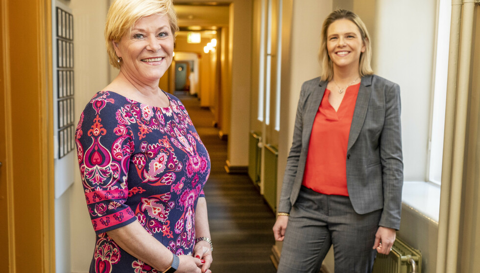 <strong>KRITISKE:</strong> Leder i Fremskrittspartiet Siv Jensen (t.v.) og nestleder Sylvi Listhaug reagerer på økt CO2-pris. Foto: Hans Arne Vedlog / Dagbladet