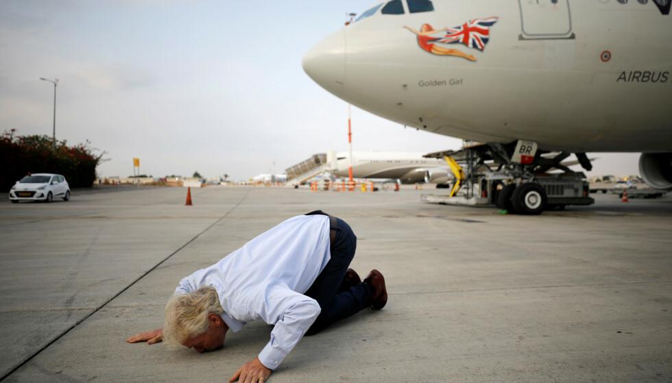BER OM HJELP: Seriegründer og forretningskjendis Richard Branson har tidligere uttalt at flyselskapet Virgin Atlantic trenger hjelp om det skal klare seg gjennom coronakrisa. Foto: Amir Cohen / Reuters / NTB Scanpix