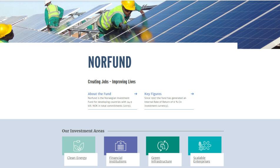 <strong>BLE SVINDLET:</strong> Det statseide investeringsselskapet Norfund investerer i utviklingsland for å bidra til økonomisk vekst og skape arbeidsplasser. Onsdag sier selskapet at de tapte 100 millioner kroner i en svindel. Foto: Skjermdump