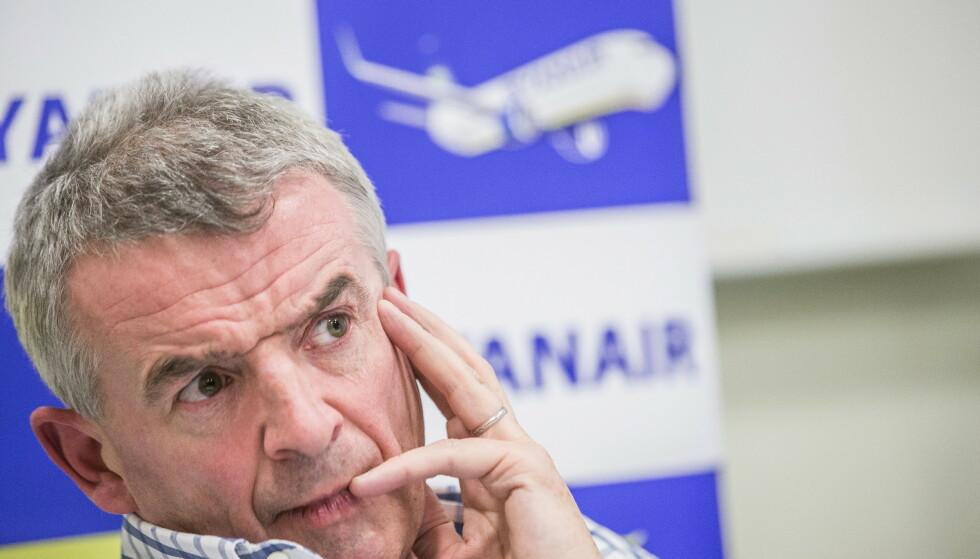 IRRITERT: Ryanair-sjef Michal O' Leary er irritert, både på statlige støtteordninger og på coronarestriksjoner .  Foto: Stian Lysberg Solum / NTB scanpix