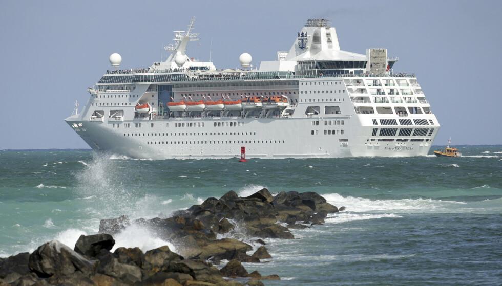 <strong>STORE TAP:</strong> Cruisegiganten Royal Caribbean fikk et underskudd på 14 milliarder kroner i første kvartal. Også andre cruiseselskaper har fått store tap på grunn av koronapandemien. Foto: Lynne Sladky / AP / NTB scanpix