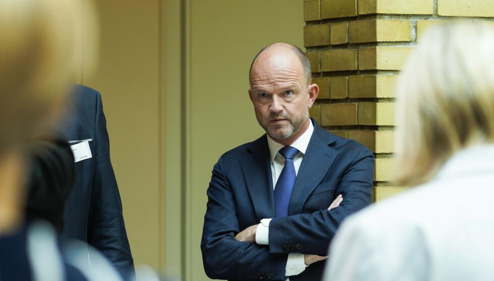 Oslo 20200529.  NHO-sjef Ole Erik Almlid kommenterer regjeringens oppdatering om koronavirus-situasjonen i Vandrehallen i Stortinget fredag. Foto: Håkon Mosvold Larsen / NTB scanpix