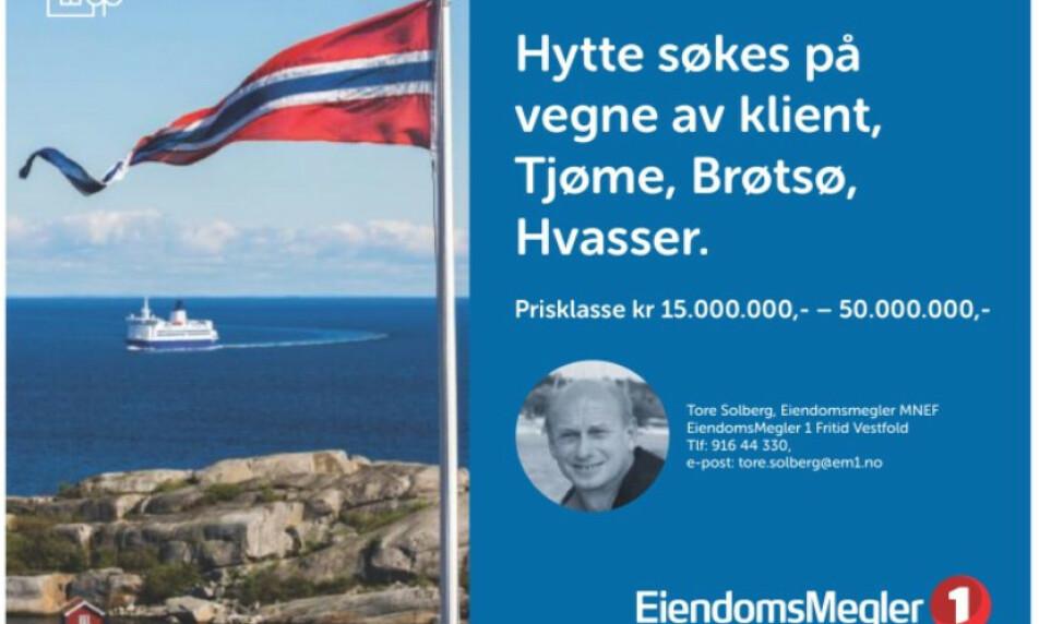 VIL KJØPE: Klienten til Tore Solberg har i flere år lett etter hytte, men ikke funnet den rette. Dermed forsøker han seg på denne måten. Foto: Skjermdump