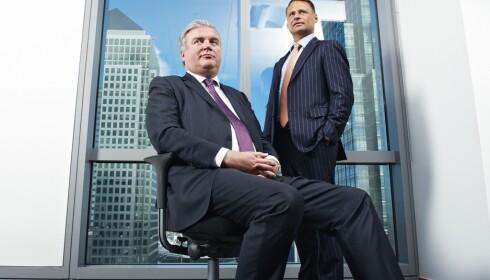 BANK: Kim Fournais (t.h.) stiftet i 1992 det som etterhvert skulle bli kjent som investeringsbanken SaxoBank sammen med Lars Seier Christensen. Foto: Micha Theiner / Cityam / REX