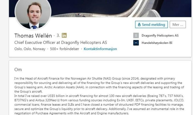 <strong>FEM MRD DOLLAR:</strong> «Totalt har jeg reist over fem milliarder dollar i flyfinansiering for nesten 100 nye flyleveranser», skriver Thomas F. Wellén på sin LinkedIn-profil.